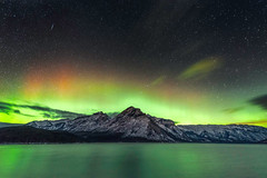Majestic Night (Mike Mezeul II Photography) Tags: winter sky lake canada green calgary night stars nationalpark heaven glow space alberta curtains banff majestic northernlights auroraborealis phenomenon minewanka