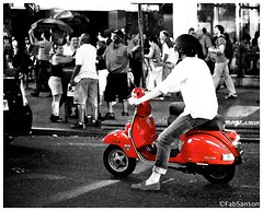 Manathan Scooter (FabSanson) Tags: street city red white newyork black vespa scooter timessquare