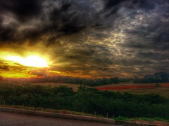 heat waves (Rodrigo Alceu Dispor) Tags: road sunset cloud sun tree yellow gold golden energy waves dramatic heat fx hdr br381 snapseed