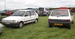 Modern cars all look the same.... (occama) Tags: old uk white cars cornwall similar subaru 1980s comparison peugeot 1990s justy 205
