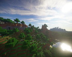 Lake at Dawn (BubblesAndSuch) Tags: videogames shaders minecraft