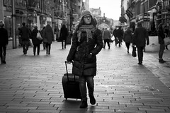 The Traveller (Leanne Boulton) Tags: life lighting street city uk winter light shadow portrait people urban blackandwhite bw woman white black detail travelling texture girl monochrome face mystery canon photography 50mm mono scotland living blackwhite aperture focus soft pretty mood shadows natural humanity bokeh outdoor expression glasgow candid young streetphotography scene human shade 7d backlit posture cinematic depth tone facial candidstreetphotography