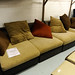 Large brown leatherette sofa