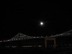 Bay Bridge at Night (jm94121) Tags: sanfrancisco moon baybridge sanfranciscooaklandbaybridge thebaylights