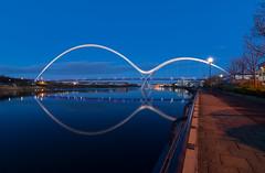 Infinity Bridge...Stockton-on-Tees. (Callaghan69) Tags: uk longexposure bridge england water night reflections twilight dusk infinity le slowshutter bluehour stockton quayside stocktonontees teeside northeastengland rivertees tokina1116 infinitybridge nikond7100