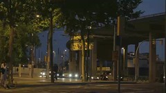 Night traffic in Barcelona. Time lapse. (greycoastmedia) Tags: barcelona street bridge summer people motion black trafficlights cars buses evening video movement spain traffic taxi crowd central realtime bikes tram autobahn center catalonia busy citylights moto pedestrians hd crossroads footage nighttraffic 1080p manypeople stockvideo greycoastmedia