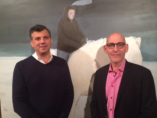 Gallery director Richard Arregui with Gallery owner Fred Snitzer at the opening of Cuban artist Martinez Celaya