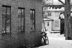 Verkstad & Gsthem (evisdotter) Tags: houses windows winter bw snow blackwhite cykel land verkstad sooc saltvik gsthem