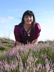 Summer breeze (Paula Satijn) Tags: red girl lady outside shiny dress heather tgirl heath transvestite gown satin gurl ballgown