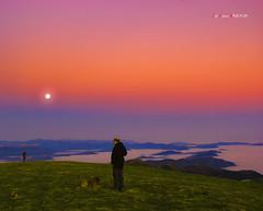 Amanecer en Gorbea con la Luna de compañía (Jabi Artaraz) Tags: perro amanecer zb pastor bruma gorbea gorbeia egunsentia euskoflickr artzaina jartaraz