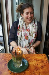 laughing at her mojito (kendradrischler) Tags: paris kristin drink caf scarf mojito firework