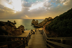 200 steps to the beach (Costigano) Tags: beach sand fence fencefriday steps lagos algarve portugal canon eos clouds sunrise sunlight