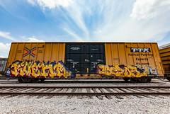(o texano) Tags: houston texas graffiti trains freights bench benching ruenr bezor nfm mhc