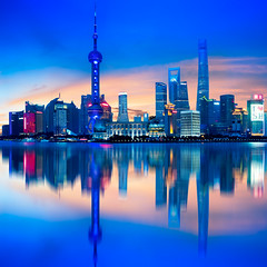 Shanghai city skyline (Patrick Foto ;)) Tags: shanghai lujiazui tower oriental river travel view business central attraction night skyline pudong light twilight asia metropolis tall reflection architecture panorama tourism huangpu financial china cityscape skyscraper downtown copy chinese waterfront urban landmark highrise finance evening morning dusk building modern district famous city sky scene beautiful water space office pearl