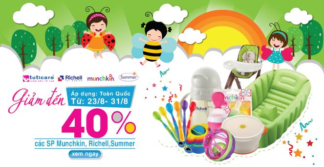 Giảm đến 40% đồ dùng cao cấp cho bé từ Munchkin,Richell, Summer (23 - 31/8)