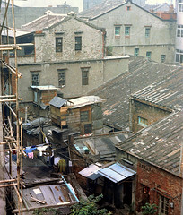 33-97 (ndpa / s. lundeen, archivist) Tags: nick dewolf nickdewolf color photographbynickdewolf 1970s 1972 fall film 35mm winter republicofchina taiwan taiwanese china chinese 1973 city citylife urban partial buildings houses homes architecture roof roofs rooftop rooftops clothes clothesline clotheslines residences dwellings 33 reel33