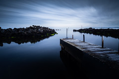Looking Out (Marty Friedel) Tags: wood landscape cloudy australia boatramp breakwater rocks still streakyclouds grey nisi seascape jetty poles lee rock moss calm portphilipbay water hobsonsbaycitycouncil longexposure williamstown morning victoria williamstownanglersclub sunrise pier smooth reflection early filter green au