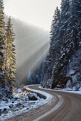 Winter Road (birra2012) Tags: road winter landscape snow mountain white forest pine fir coniferous river brook water clean fresh cold nature snowy light season frost ice driving scene park way travel trees frozen covered rural country outdoor day