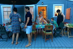 Dinner (Adrian Cooke) Tags: massachusetts wareham cod cape summer outdoors deck dinner chairs table family blue
