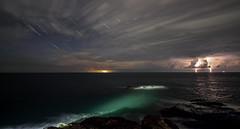 Breakwater Storm stack (traceysnelus) Tags: startrails star pola polaris northstar thunderstorm an anglesey isleofanglesey holyhead breakwater irish sea