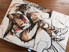 Random quick sketch. Afternoon nap. Sketchbook. @inktober... (Dorian Vallejo) Tags: art fine drawing figure mixed media drawings oil painting dorian vallejo