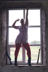 Hope (Pranavian) Tags: nikon dg10 fullframe portrait photoshoot portraiture pose female woman model haloween scary frightening scared horror film aaronpickett pranavian lancashire nikkor prime fear backlit window nurse blood weapon sword machete gun shotgun abandoned derelict mill old