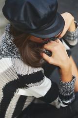 Knitwear in leather (Carlaestevez) Tags: desigual knitwear leatherjumpsuit beret outfit streetstyle winter boots