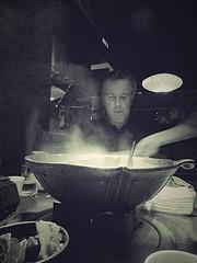 Taipei Hot Pot (Robert Borden) Tags: indoors restaurant hotpot taiwan taipei asia travel portrait bw monochrome blackwhite food people man