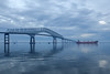 Misty Morning (T-3 Photography) Tags: bridge sky reflection clouds canon river boat md ship cloudy maryland wideangle baltimore 1740mm patapscoriver fortarmistead 5dmarkii