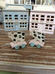mooo! (*Joyful Girl  Gypsy Heart *) Tags: girl shop toy pull cow miniature heart etsy joyful gypsy dollhouse shabby
