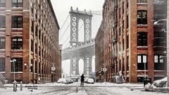 Manhattan bridge after snowstorm Juno. (darinkimphotography) Tags: nyc winter snow newyork hat brooklyn photographer manhattan snowstorm apocalypse january explore manhattanbridge whiteout juno 2015 darinkim
