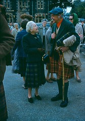 Dame Flora MacLeod of MacLeod and Seton Gordon in Somerled Square, Portree, 1960s/70s.