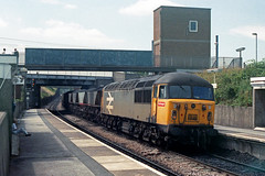 56017 passes through Retford with an eastbound loaded MGR at 13:53. (jezdgould) Tags: grid brush coal britishrail mgr haa retford railfreight class56 56017 rustonpaxman