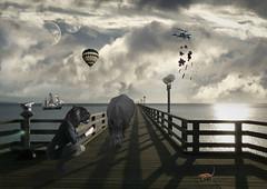 Surreal surroundings (crdejong) Tags: photoshop boat balloon surreal rhino panther colinda colindadejong