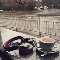 Photo of 12.34 02.03.15 #coffee #snowing outside #sheffield #headphones
