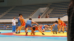 Wrestling warm up leading up to the Inoki friendship event in North Korea (uritours) Tags: northkorea dprk coriadonorte sportvemcoriadonorte globoemcoriadonorte