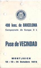 """Pase de Vecindad emitido por el """"Club 600""""  400 Kms de Barcelona 1.973 (Manolo Serrano Caso) Tags: barcelona de 400 kms montjuich circuito club600 400kmsdebarcelona"""
