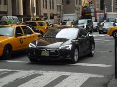 Tesla Model S (JLaw45) Tags: road street new york city nyc urban black green apple electric america sedan big model state metro manhattan united north s clean midtown queens american plug vehicle metropolis states avenue northeast far rockaway tesla worldcars