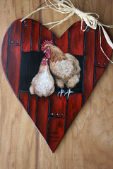 """Rooster and hen painted heart (sherrylpaintz) Tags: original copyright chickens love nature floral barn painting design boards couple colorful artist heart natural folk ooak decorative wildlife birdhouse style valentine nails handpainted romantic rooster chic sweethearts siding custom hen raffia redbarn acrylicpainting whimsical treasures realism primitive décor realistic art"""" artist"""" style"""" """"hand bufforpington woodheart """"wildlife """"folk birdhousepainting """"primitive painted"""" chic"""" """"shabby """"decorative sherrylpaintz """"decorating"""