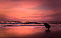 Dying Twilight (_Viky_) Tags: ocean sunset sun lighthouse clouds fun sand goa hues beaches 500px
