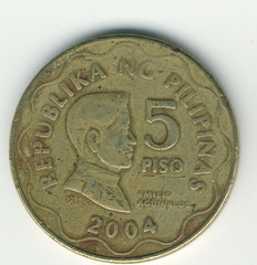 Coin Mnze Whrung Hard Currency Geld Foreign Money Fremdwhrung (hn.) Tags: copyright money coin heiconeumeyer 5 five side philippines front pesos ph frontside pilipinas peso geld phillipines vorderseite philippinen piso mnze copyrighted fnf foreignmoney whrung fremdwhrung hardcurrency hartgeld 5piso