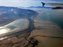 Departing SLC (James B Currie) Tags: november airplane flying flight antelopeisland saltlakecity greatsaltlake slc airplanewindow 2014 frontierairlines
