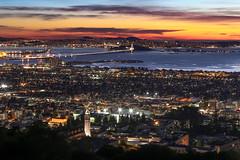 Winter's Kiss (Joe Parks) Tags: sanfrancisco california city sunset lights berkeley twilight dusk valentine campanile bayarea valentines ucberkeley sathertower eos6d canon6d parksjd sunsetoftheday