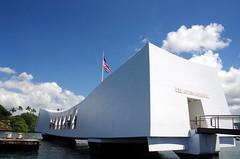 USS Arizona Memorial (sarowen) Tags: clouds memorial cloudy americanflag bluesky pearlharbor honolulu blueskies ussarizona honoluluhi ussarizonamemorial honoluluhawaii wwiivalorinthepacificnationalmonument