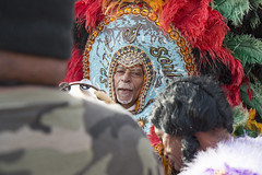 Big Chief Alfred Doucet of the Flaming arrows warriors and Big Chief Kevin Goodman outside of the Mother-In-Law Lounge