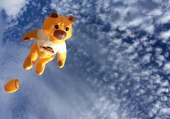 Interplanabeary bear (feefoxfotos) Tags: blue sky clouds fun flying funny space kites spacetravel poohbear hotairballoons feefoxfotos
