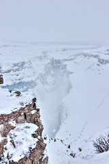 Gulfoss, Iceland (tik_tok) Tags: travel winter snow cold tourism water river landscape waterfall iceland triangle europe scenic icy naturalbeauty gulfoss touristattraction goldencircle