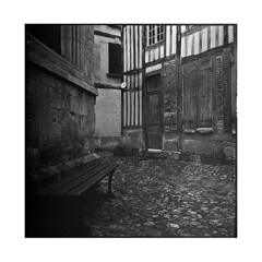 back of the church  honfleur, normandy  2014 (lem's) Tags: street rolleiflex bench normandie honfleur ruelle normandy banc planar paved colombages pave
