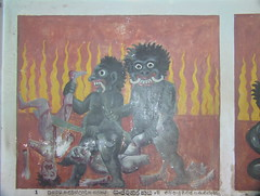 Painting of Hell in Aluvihare Rock Temple