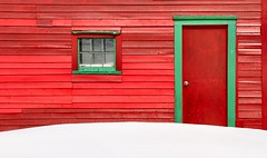Red & Green (Karen_Chappell) Tags: door wood red snow building green window architecture rural newfoundland wooden paint bright painted shed clapboard nfld goulds